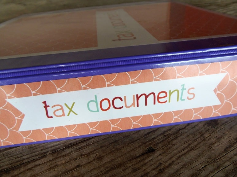 Spine of Printable Tax Binder