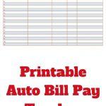 Printable Auto Bill Pay Tracker