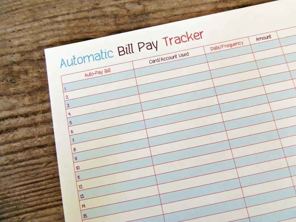 Printable Auto Bill Pay Tracker