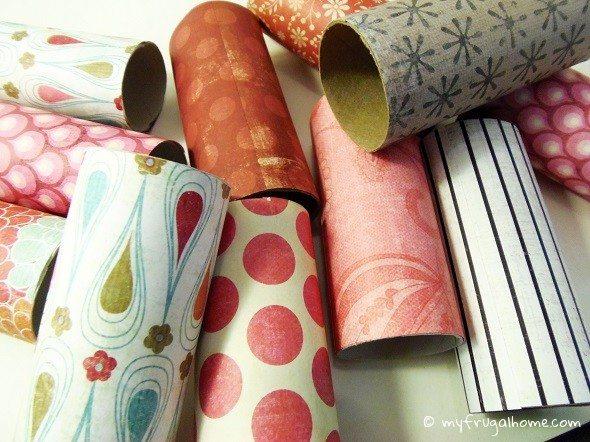 Wrap the Toilet Paper Rolls in Scrapbook Paper