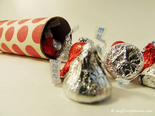 Toilet Paper Roll Valentine Stuffed with Candy