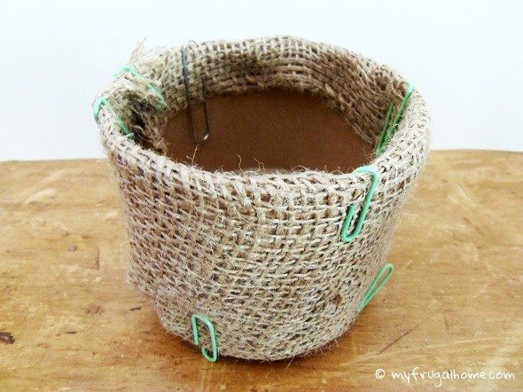 Attach the Burlap with Paper Clips