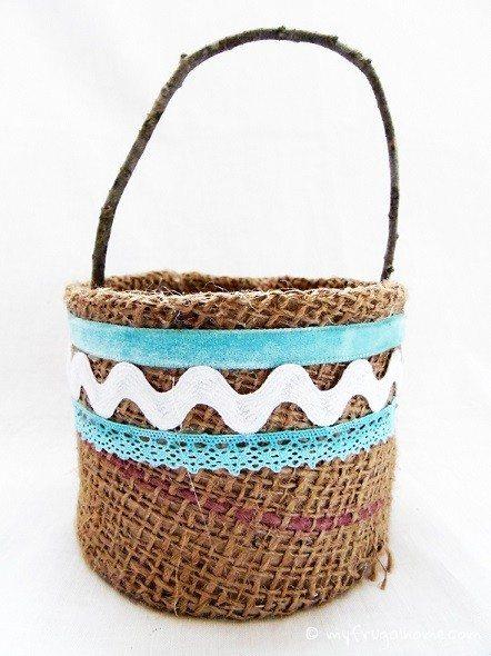 Finished Burlap Easter Basket