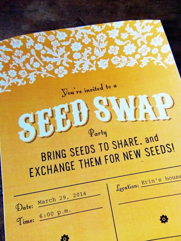 Printable Seed Swap Party Invitation