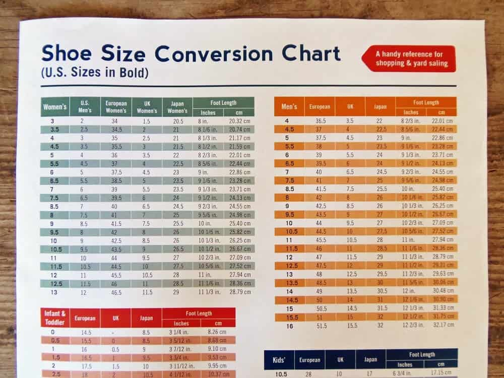 Shoe Size Conversion Chart