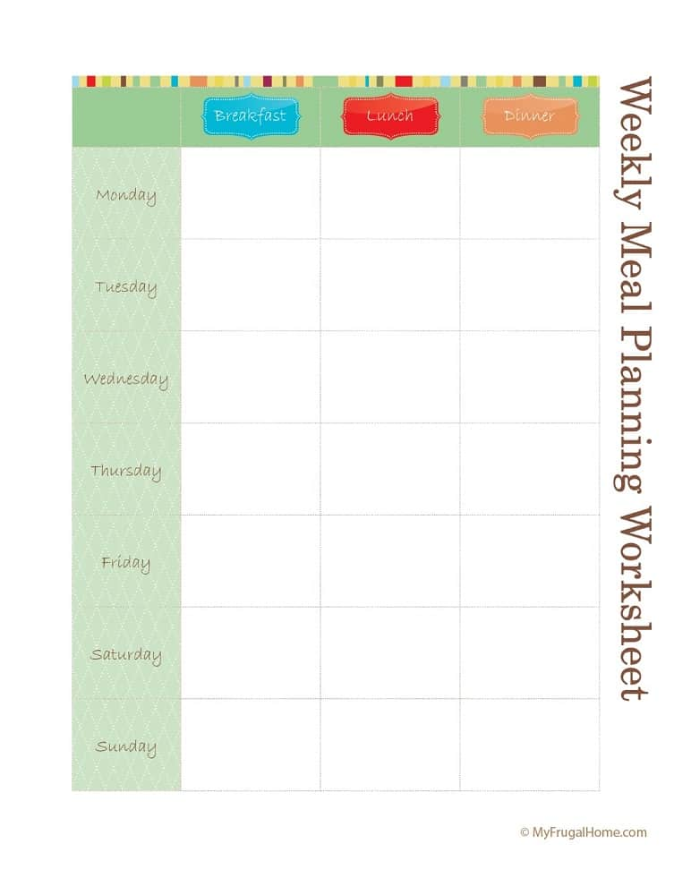 Printable Weekly Meal Planner - Three Meals a Day