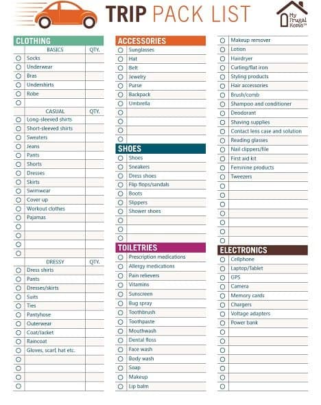 packing checklist vacation