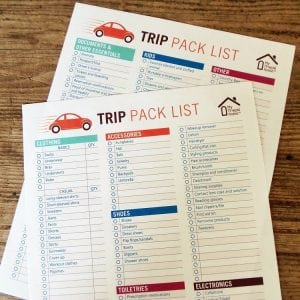 Printable Trip Pack List