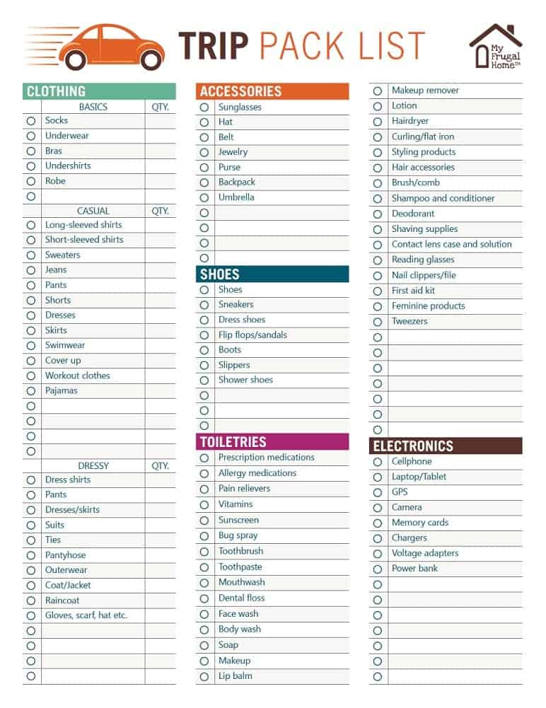 photo about Printable Packing List named Printable Family vacation Pack Record
