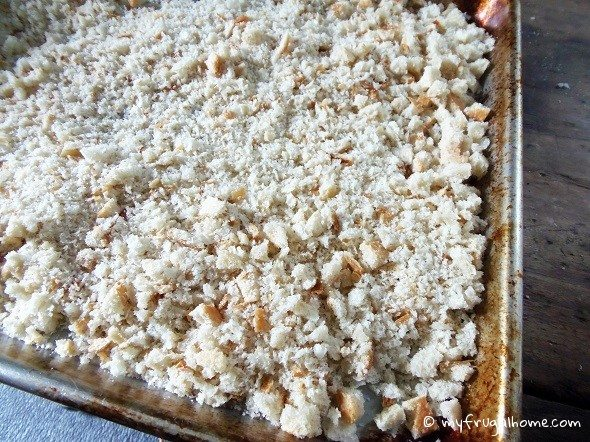 Spread the Bread Crumbs on a Cookie Sheet