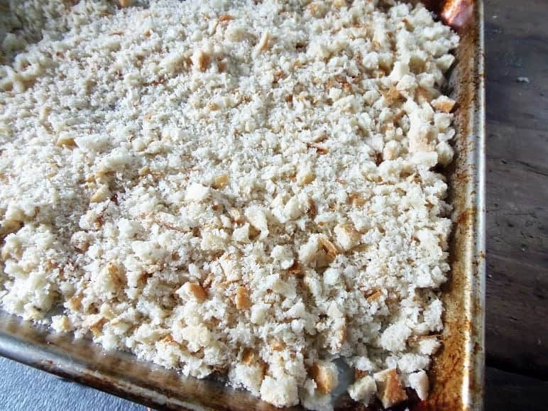 Spread the Bread Crumbs Out on a Cookie Sheet