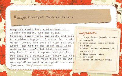 Crockpot Cobbler Recipe Card