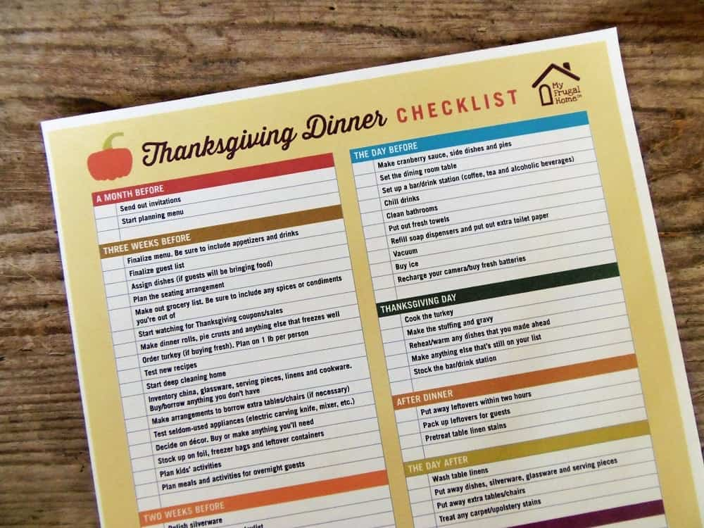 Printable Thanksgiving Dinner Checklist