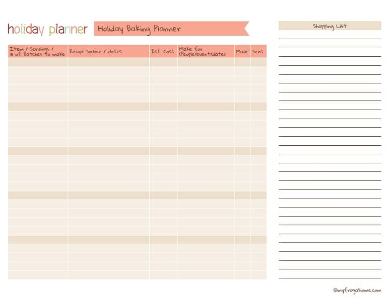 Printable Holiday Baking Planner
