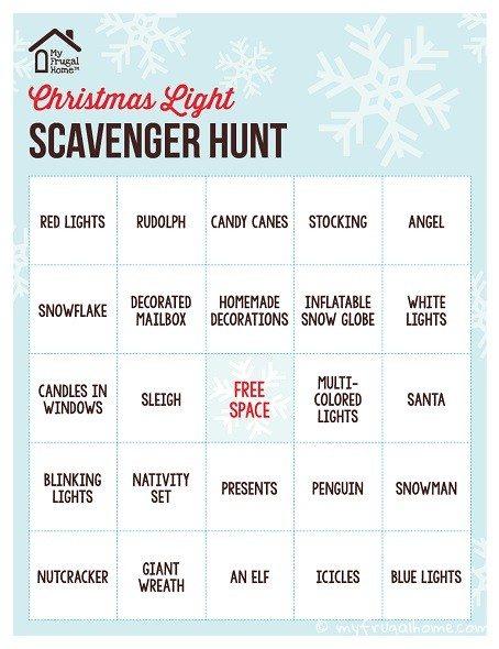 Christmas Light Scavenger Hunt Card