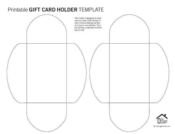 Printable gift card holder template folding flaps