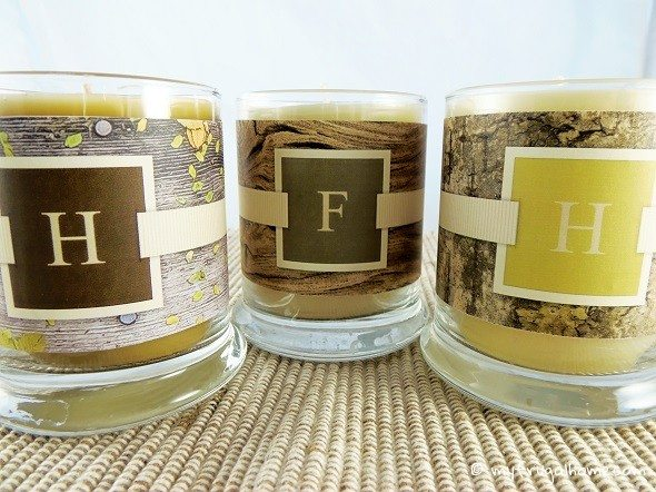 Candles with Natural Monogram Labels