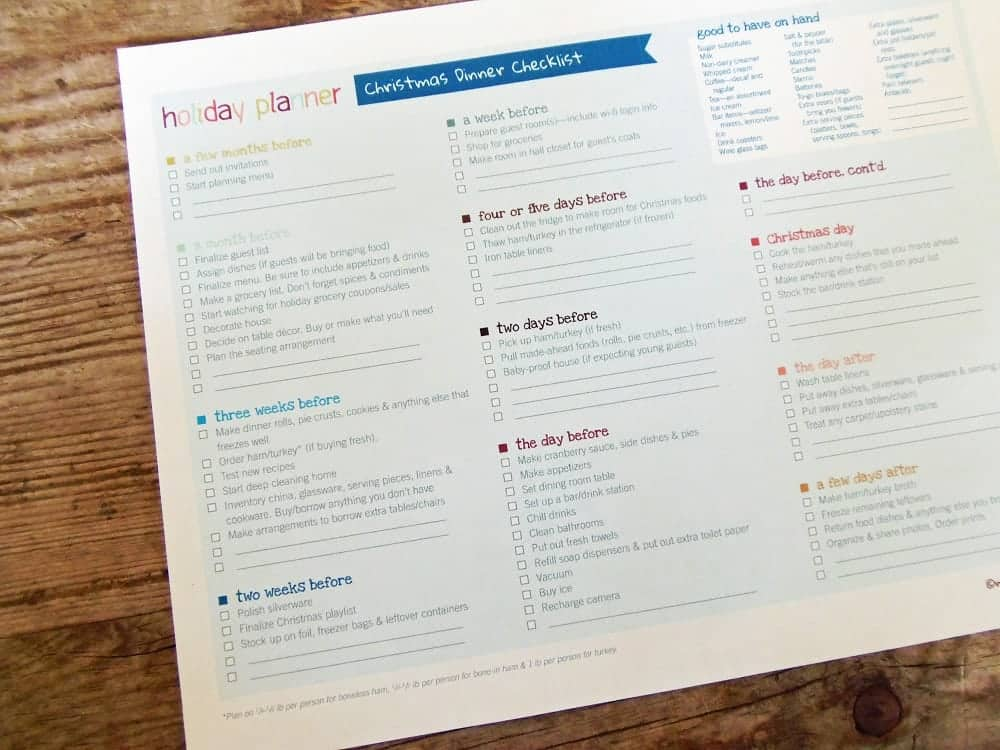 Printable Christmas Dinner Checklist