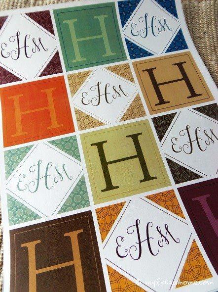 Printable Eclectic Monogram Labels