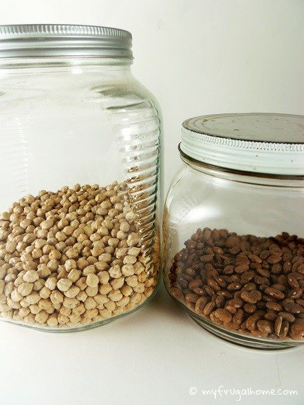 Dried Beans Stored in Air-Tight Containers