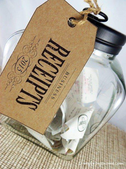 Receipt Jar with Tag