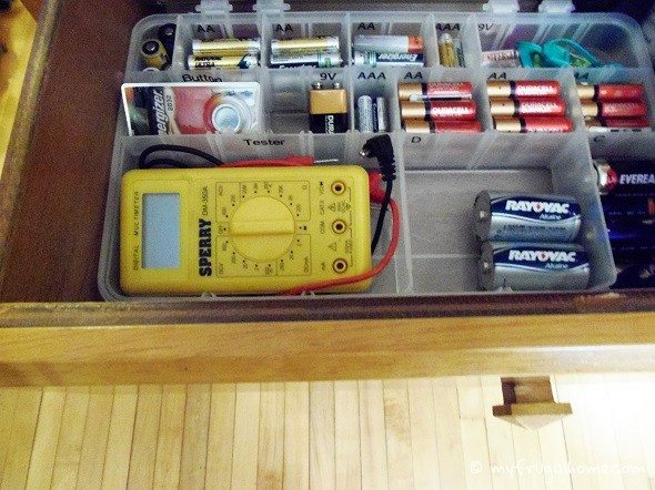 Drawer with Battery Organizer