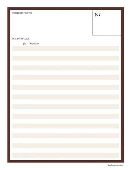 Storage Bin Inventory List