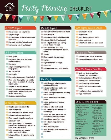 garage sale gift ideas - Printable Party Planning Checklist