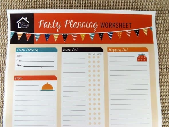 Printable Party Planning Worksheet