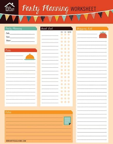 Party Planning Worksheet Screen Shot