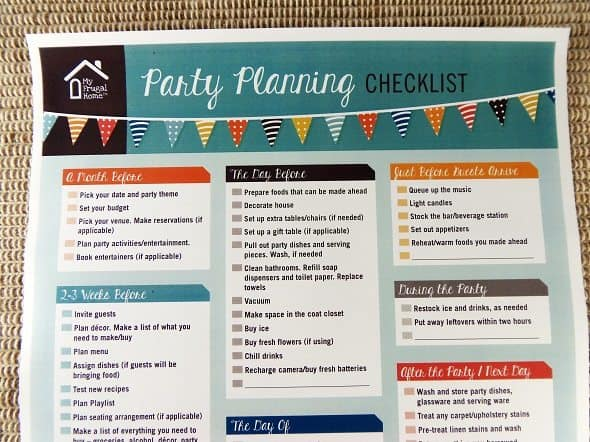 Printable Party Planning Checklist