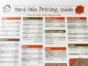 Printable Yard Sale Pricing Guide
