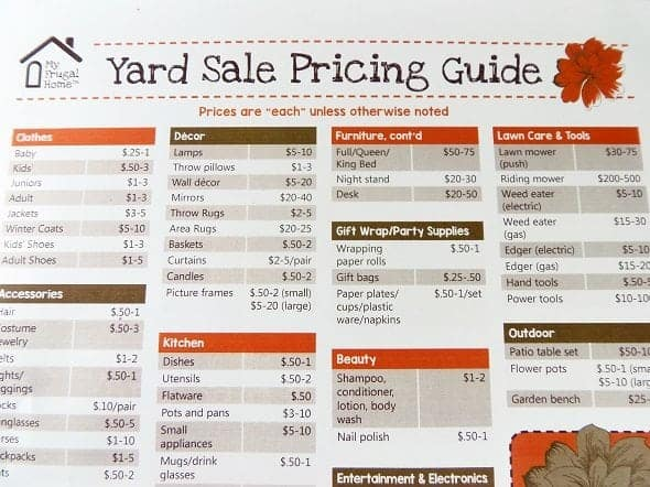 Printable Yard Sale Pricing Guide