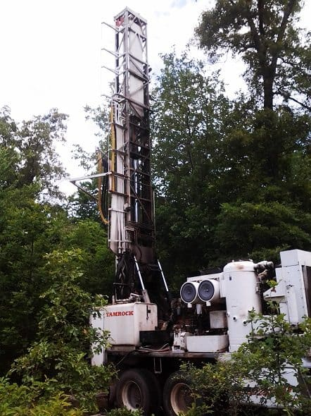 Well Drilling Rig Side View