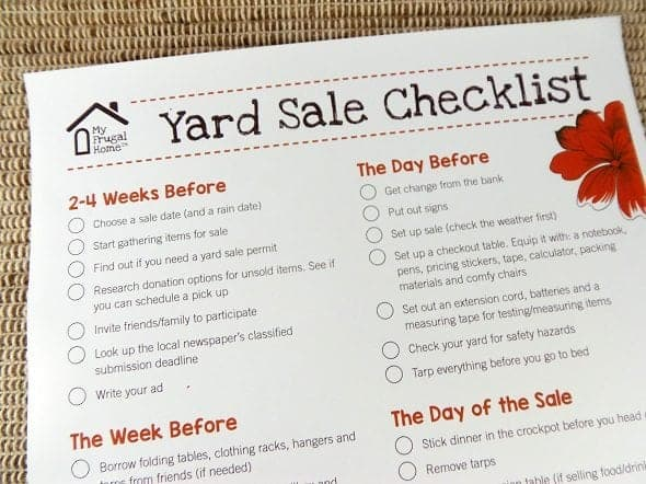 Printable Yard Sale Checklist