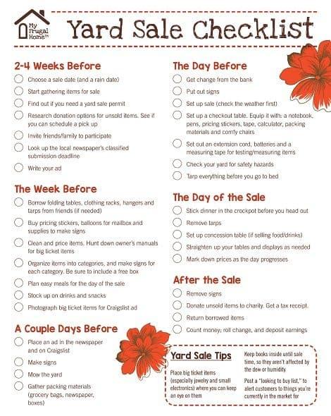 Yard Sale Checklist Screenshot