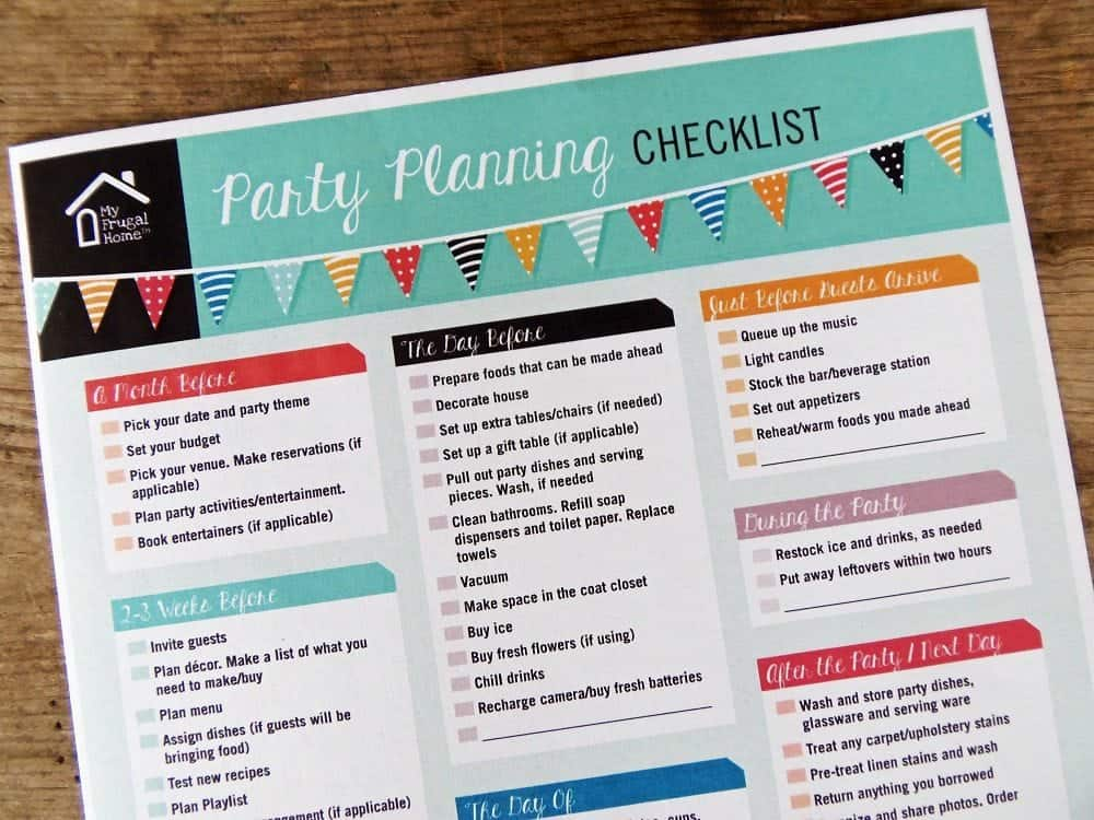 photo relating to Printable Party Planning Checklist identified as Printable Bash Designing Listing