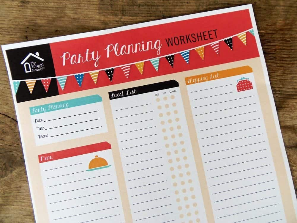 Printable Party Planning Worksheet Screenshot