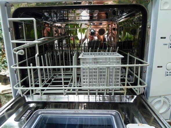 Inside of Countertop Dishwasher