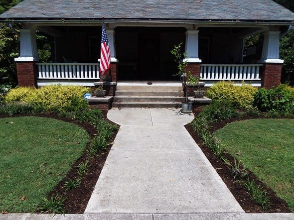 Freshly Mulched Front Yard