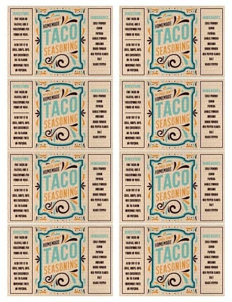 Printable Taco Seasoning Labels