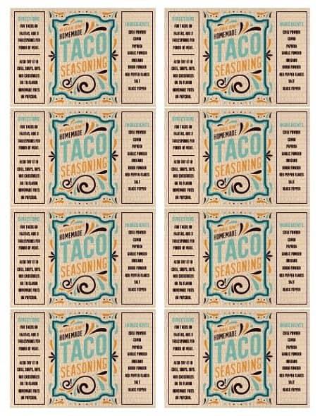 Printable Taco Seasoning Labels