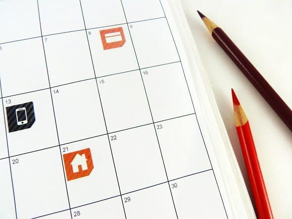 Bill Pay Stickers on Calendar
