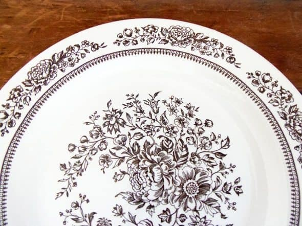 Brown Floral Dishes