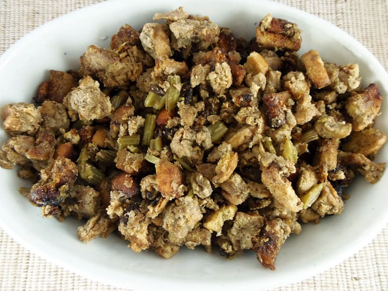 Crockpot Stuffing in Ironstone Serving Bowl