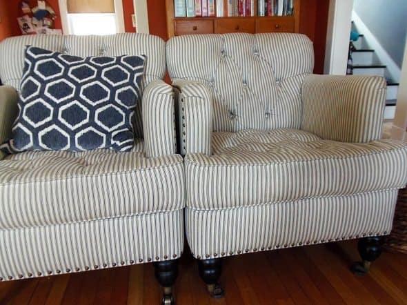Mattress Ticking Arm Chairs