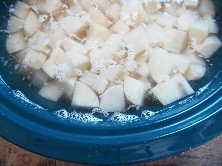 Potatoes Soaking in Water