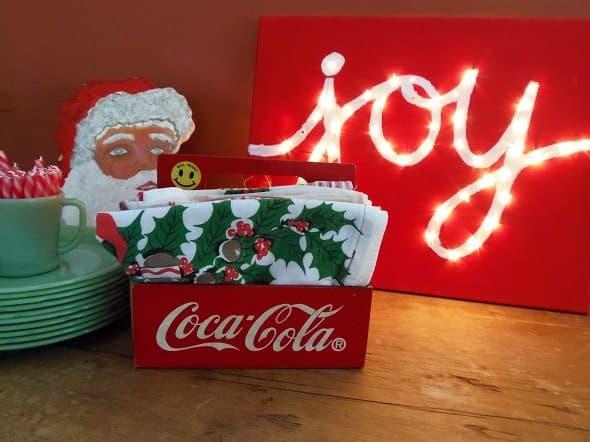 Christmas Display on Sideboard Lit Up