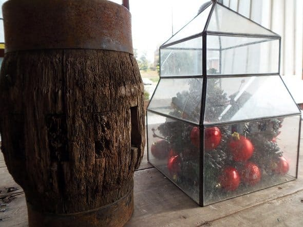 Garden Cloche with Christmas Ornaments