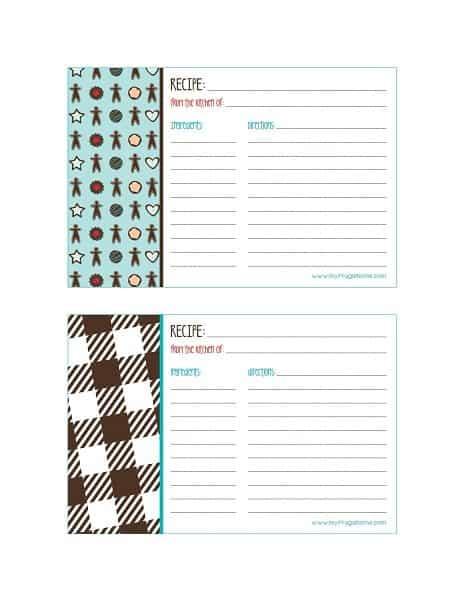 Printable Holiday Recipe Cards - Version 2